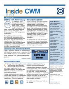 Inside CWM Newsletter - 2012 Summer