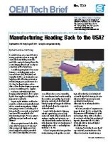 USA Today: Manufacturing Returning to USA?